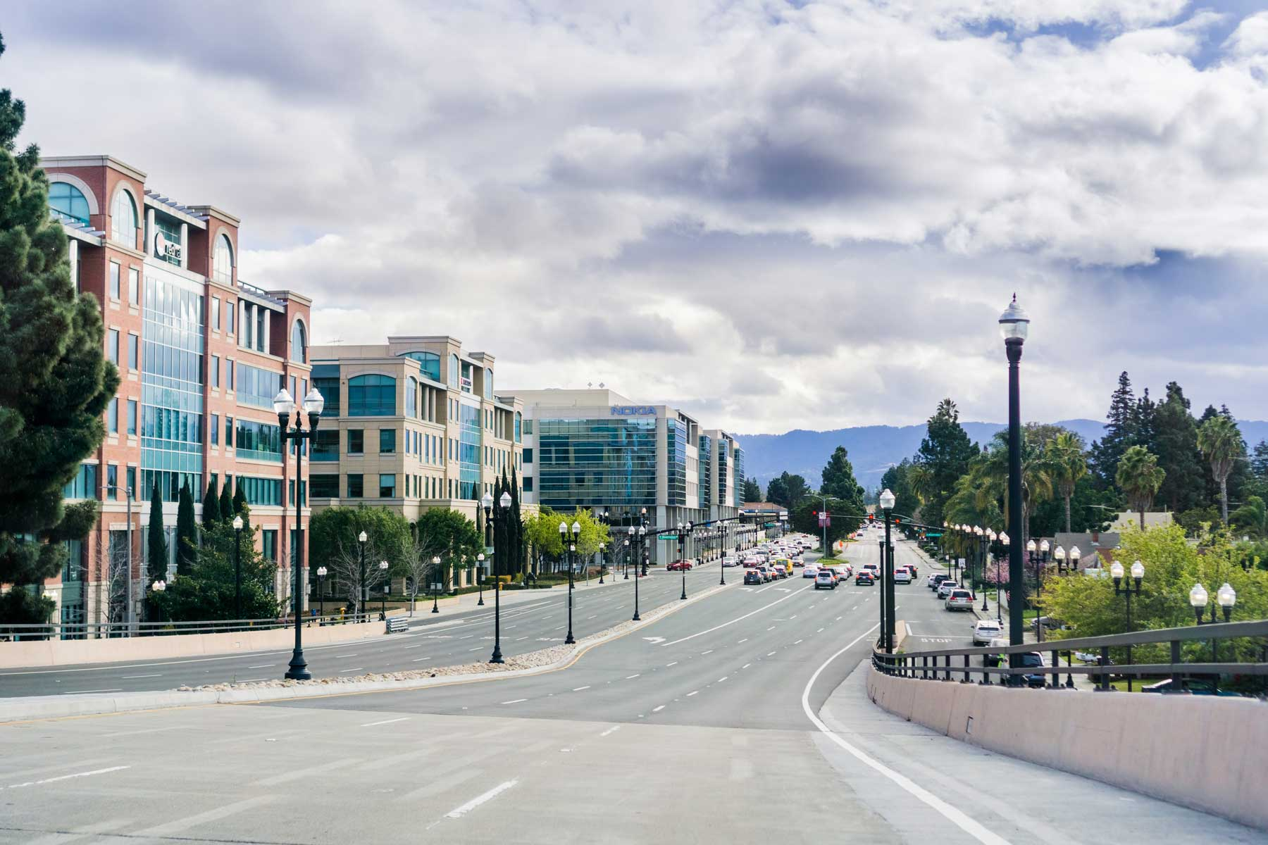 One of the main streets in downtown Sunnyvale, CA on a cloudy day — Photo by Sund0ryPhotography