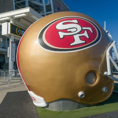 San Francisco 49ers life size helmet outside Levi's Stadium — Photo by wolterke